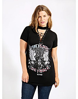 Koko Black Guitar Print Lace Up Top