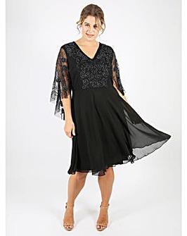 Lovedrobe Luxe Black Kimono Sleeve Dress