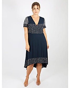 Lovedrobe Luxe Embellished Navy Dress
