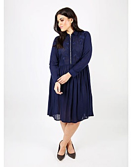 Koko Emboridered Midi Navy Shirt Dress