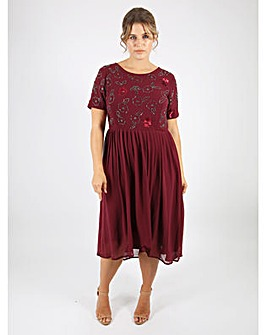 Lovedrobe Luxe Berry Embellished Dress