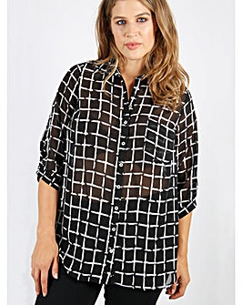 Lovedrobe GB Grid print collared shirt