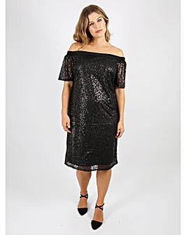 Lovedrobe GB Black Sequin Bardot Dress