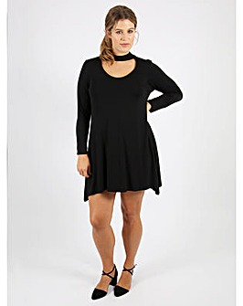 Koko Black Choker Swing Dress