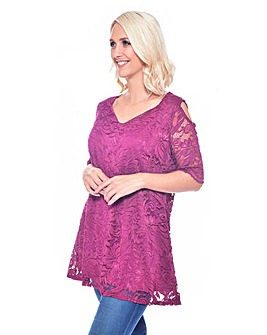 Grace cold shoulder lace tunic top