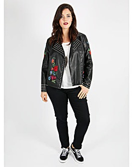 Koko PU Floral Embroidery Studded Jacket