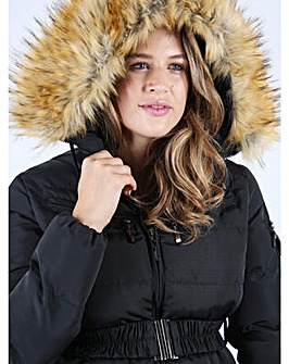 Lovedrobe Grey Belted Puffer Jacket