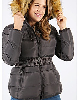Lovedrobe Grey Belted Puffer Jacket