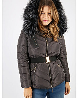 Lovedrobe Grey Jacket With Fur Trim