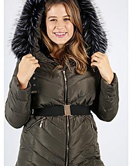 Lovedrobe Khaki Fur Trim Long Jacket