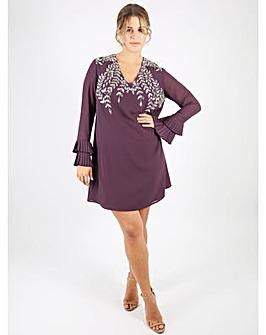 Lovedrobe Luxe purple v-neck shift dress