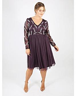 Lovedrobe Luxe purple v-neck midi dress