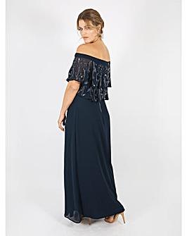 Lovedrobe Luxe navy Bardot maxi dress