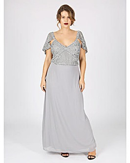 Lovedrobe Luxe grey embellished maxi