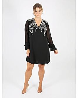 Lovedrobe Luxe black v-neck shift dress