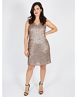 Lovedrobe GB gold sequin shift dress