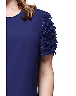 Yumi Curves 3D Flower Sleeve Tunic Dress