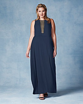 Grazia Sheer Lace Panel Maxi Dress