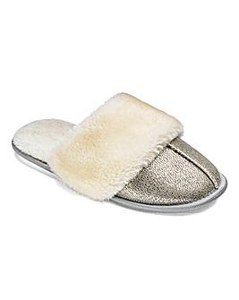 Heavenly Soles Metallic Mule Slippers