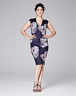 AX Paris Curve Plunge-Neck Printed Dress