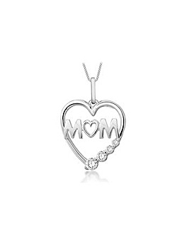 Sterling Silver Mum Heart Necklace