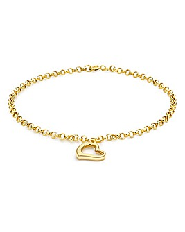 9Ct Gold Floating Open Heart Bracelet