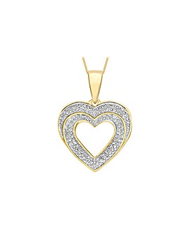 9ct Gold Pave Diamond Heart Necklace