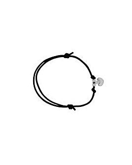 Sterling Silver & Black Cord Bracelet