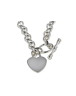 Sterling Silver Oval Heart Tbar Necklace