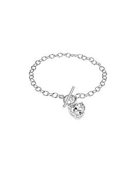 Sterling Silver Heart Tbar Bracelet