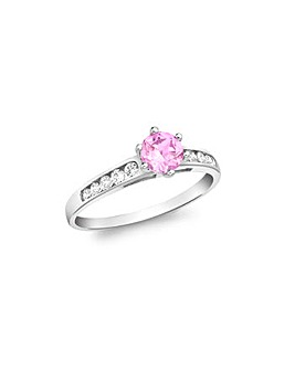 9Ct Gold Pink And White Ring