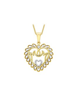 9ct Gold Two Tone Mum Heart Necklace