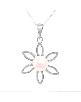 Silver Fresh Water Pearl Flower Pendant
