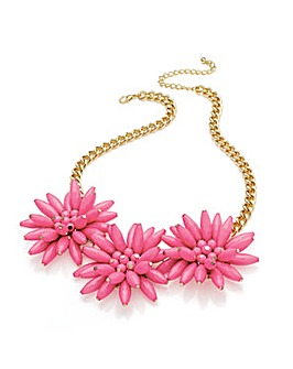 Gold Effect Pink Flower Chain Necklace