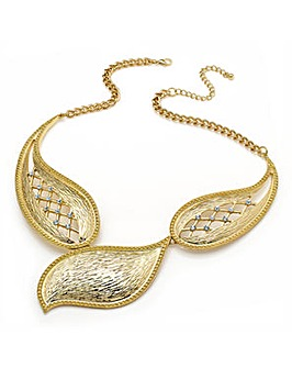 Gold Effect Crystal Leaf Necklace