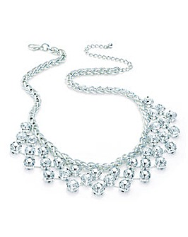 Silver Effect Crystal Drop Necklace