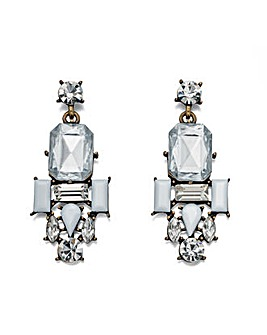 Clear and white crystal cluster earrings