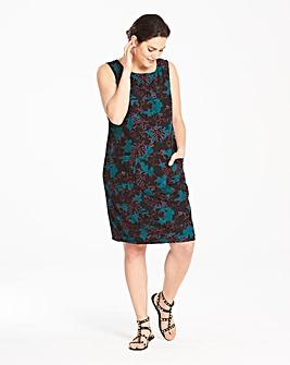 Green/Pink Palm Print Linen Dress