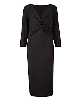 Black Ponte Knot Front Dress