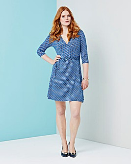 Blue Geo Print Deep Plunge Wrap Dress