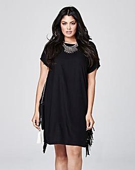 Black Side Fringe Dress