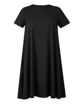 Black Ribbed Jersey Swing Dress