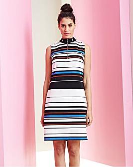 Multi Stripe High Neck Rib Bodycon dress