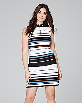 Multi Stripe High Neck Rib Bodycon dress