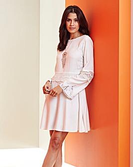 Bell Sleeve Lace Insert Dress