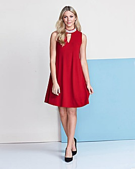 High Neck Cut Out Swing dress