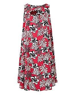 Raspberry Print Cut Out Neck Swing Dress
