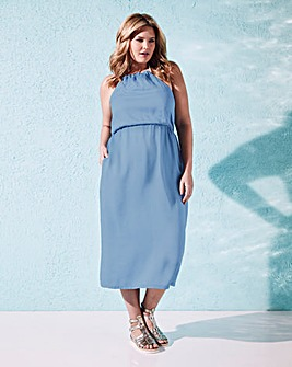 Blue Rope Detail Halterneck Midi Dress