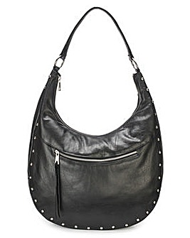 Leather Studded Hobo Bag