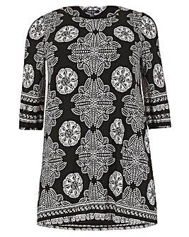 Samya Sleeve Multi Print Dress